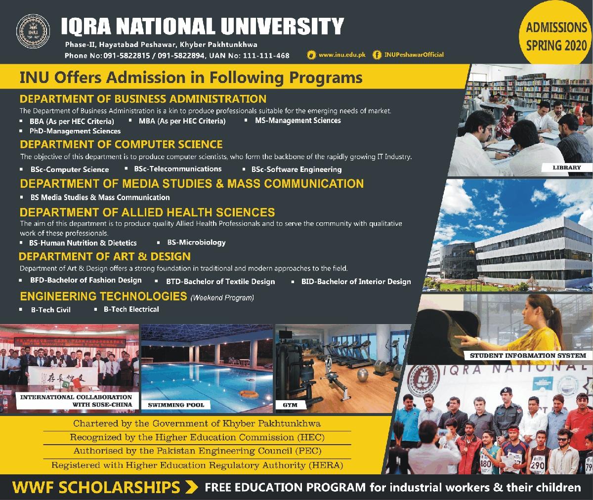 Iqra National University Peshawar Admissions