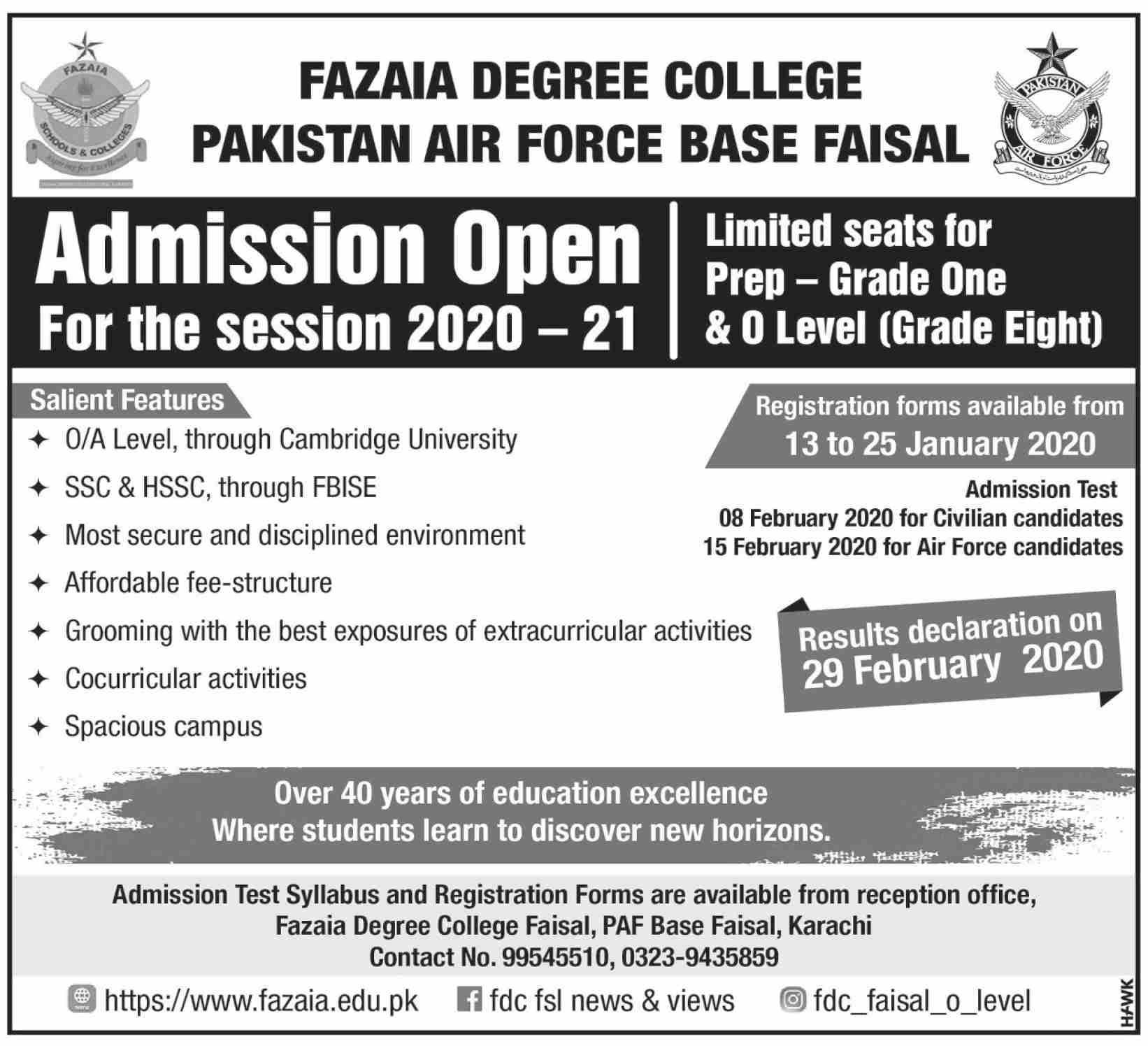 Fazaia Degree College Karachi Admissions
