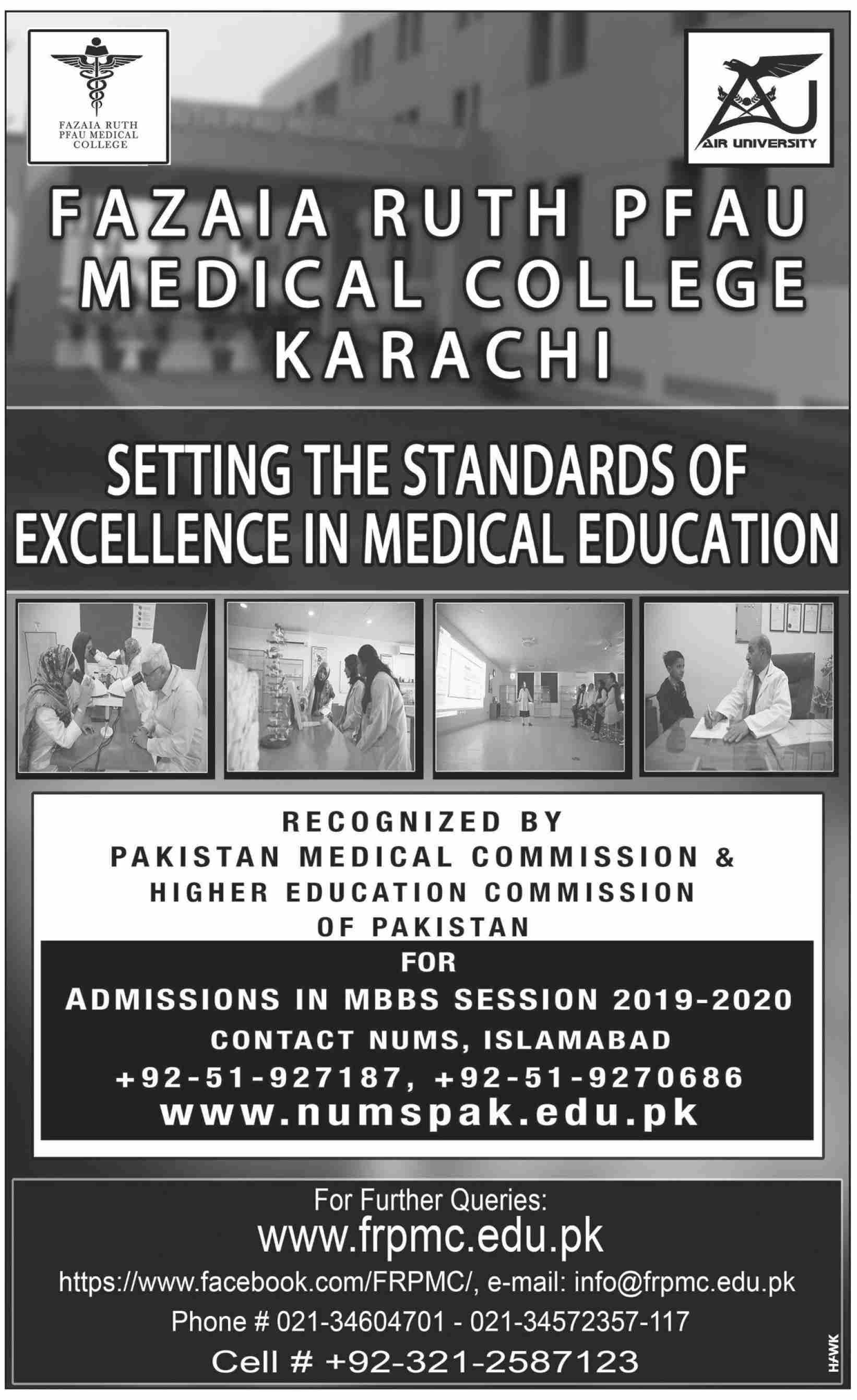 Fazaia Ruth Pfau Medical College Karachi Admissions.