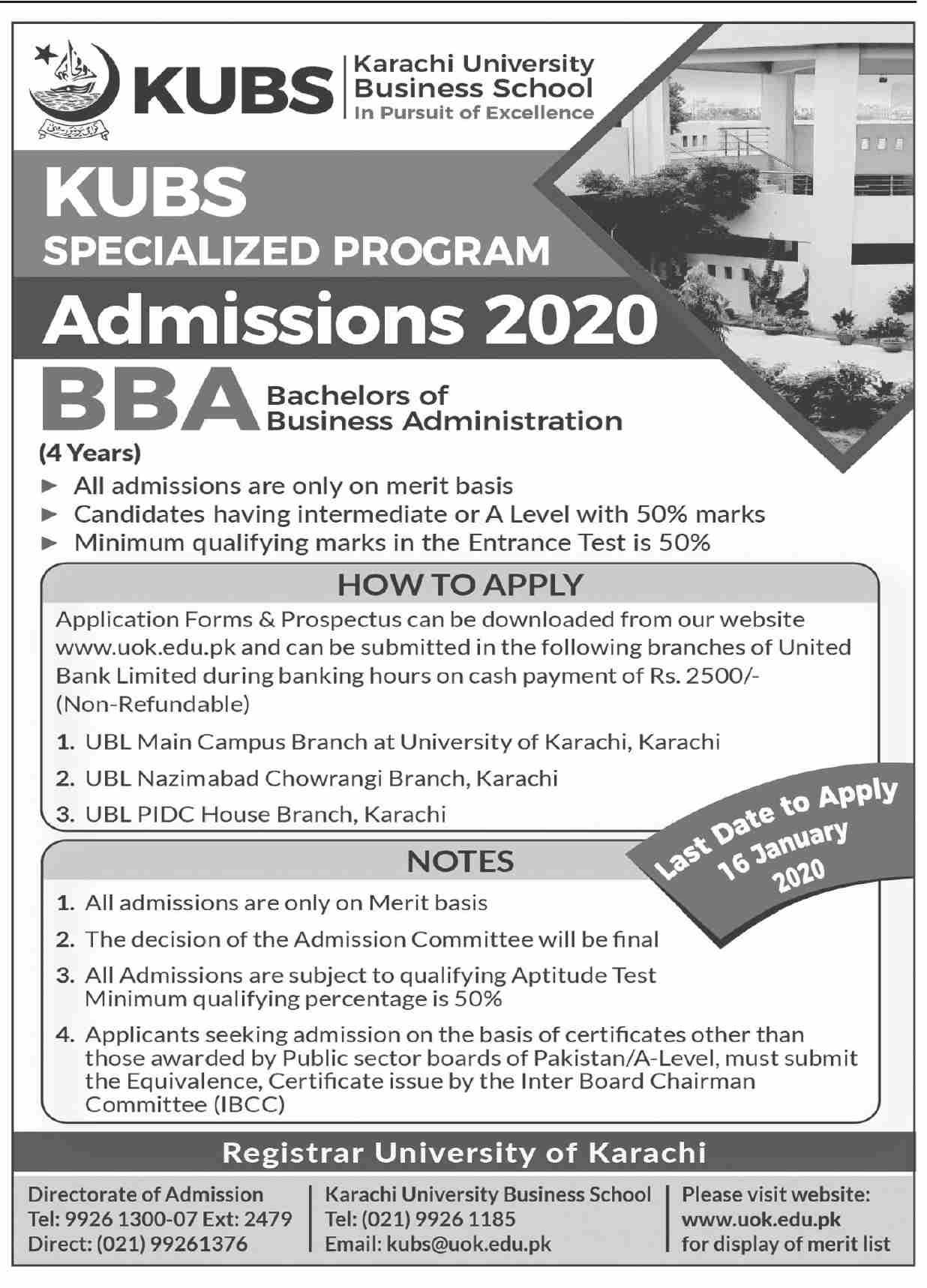 Karachi University Business School Karachi Admissions