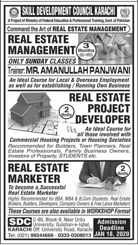 Skill Development Council Karachi Admissions