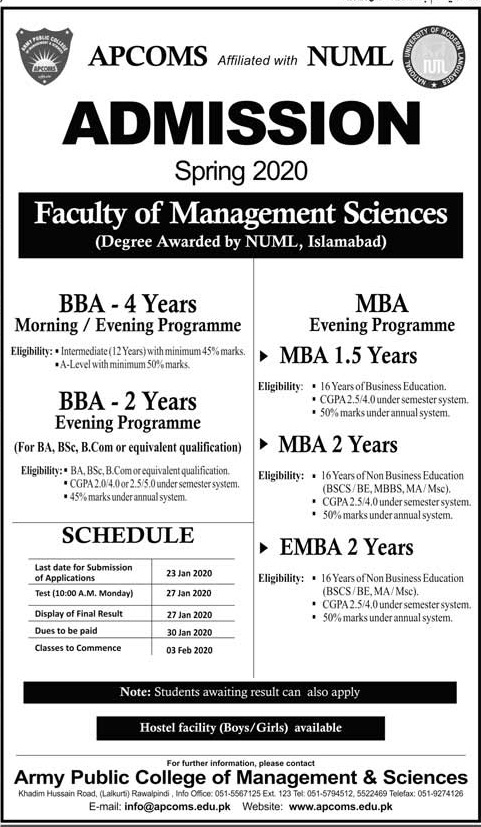 Apcoms Islamabad Admissions