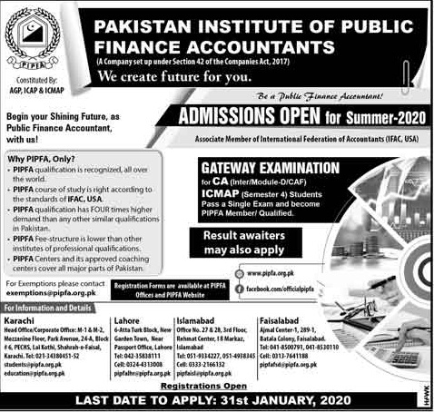 Pakistan Institute Of Public Finance Accountants Admissions
