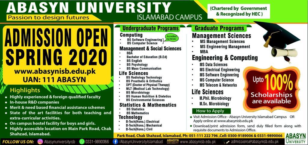 Abasyn University Islamabad Admissions