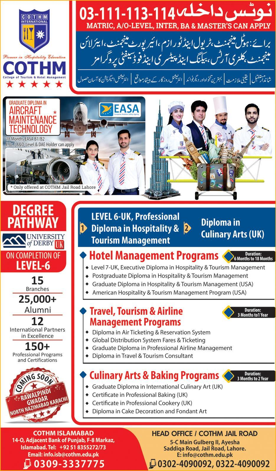 Cothm Islamabad Admissions