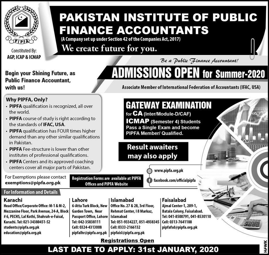 Pipfa Karachi Admissions