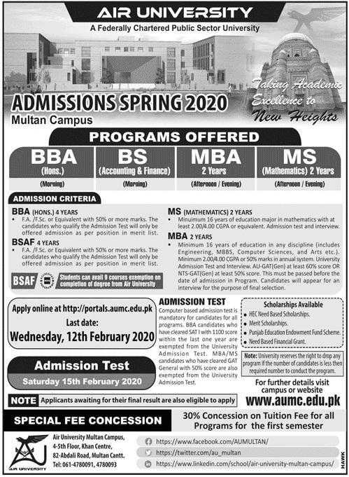 Air University Islamabad Admissions