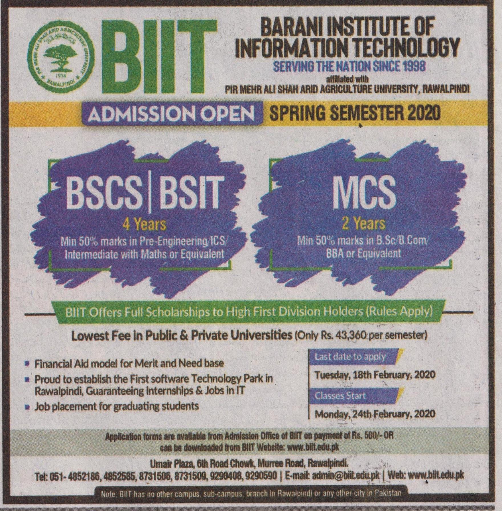 Barani Institute Of Information Technology Rawalpindi Admissions
