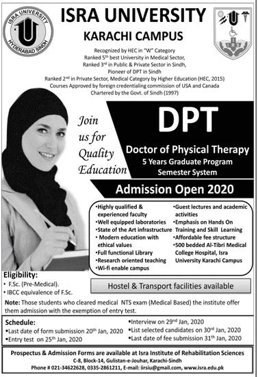 Isra University Karachi Admissions