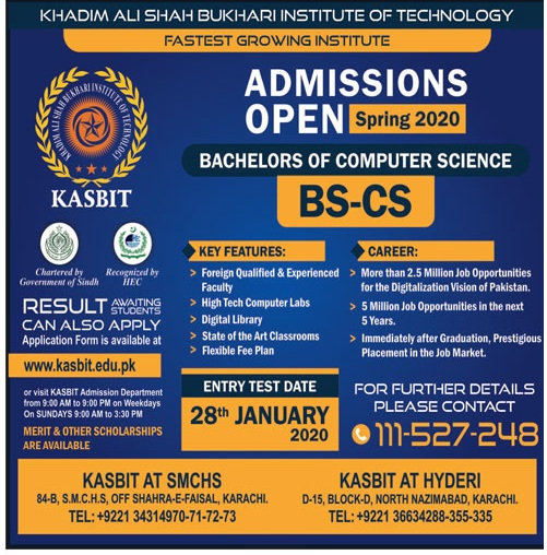 Khadim Ali Shah Bukhari Institute Of Technology Karachi Admissions