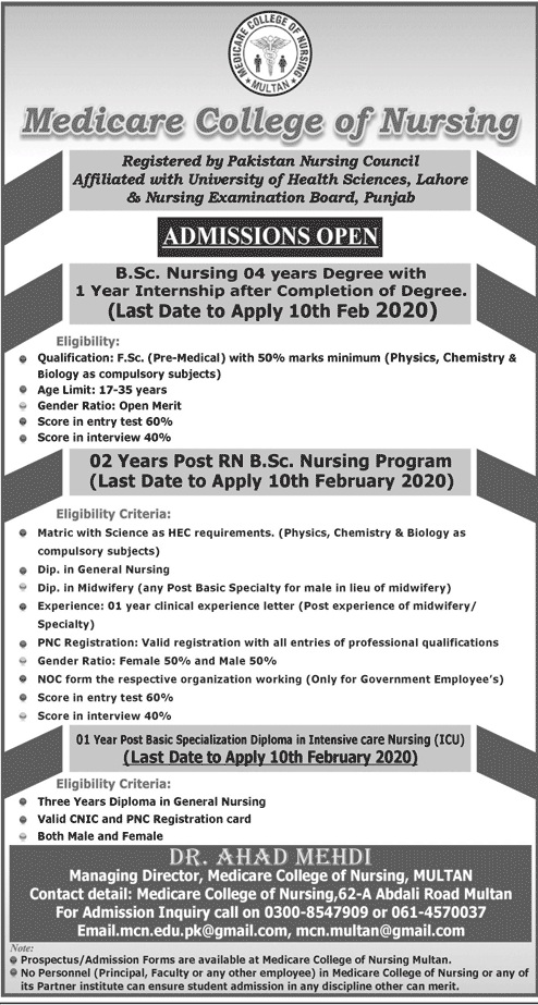Medicare College Of Nursing Multan Admissions