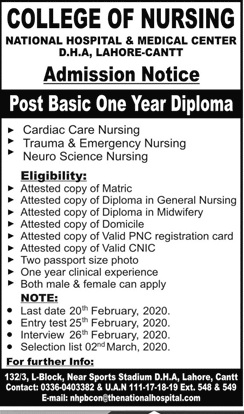 National Hospital & Medical Center Lahore Admissions