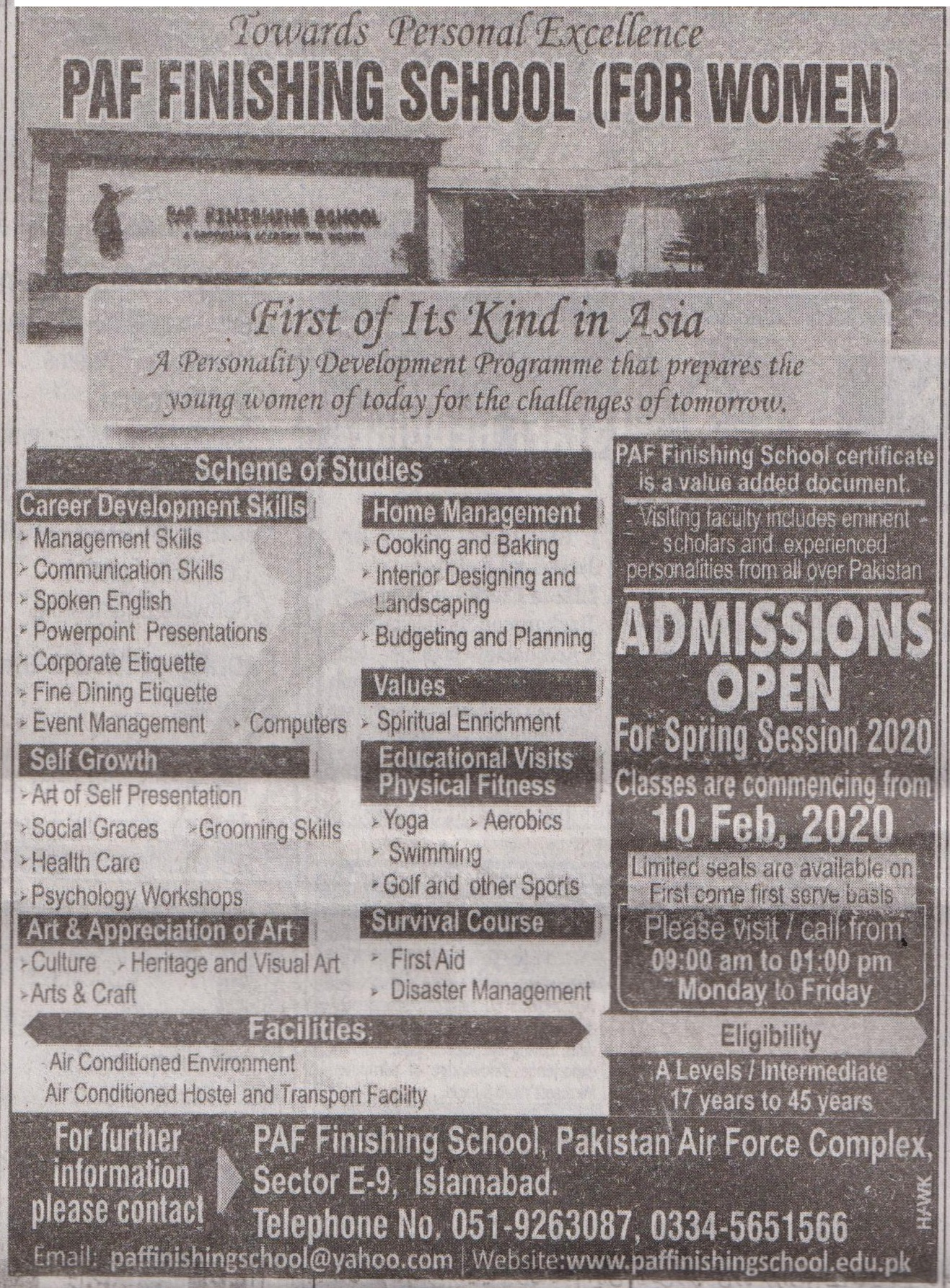 Paf Finishing School Islamabad Admissions