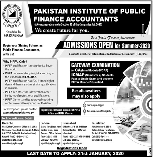 Pakistan Institute Of Public Finance Accountants Karachi Admissions
