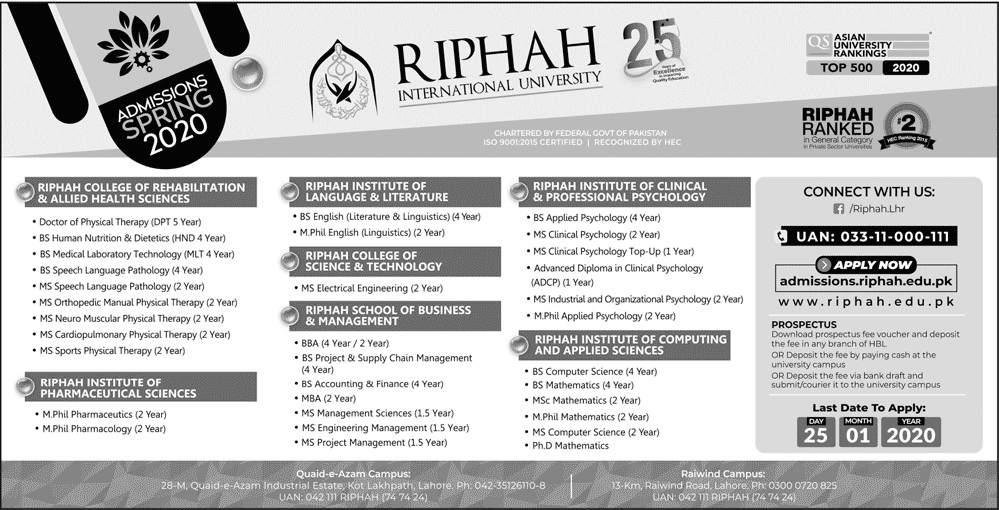 Riphah International University Lahore Admissions