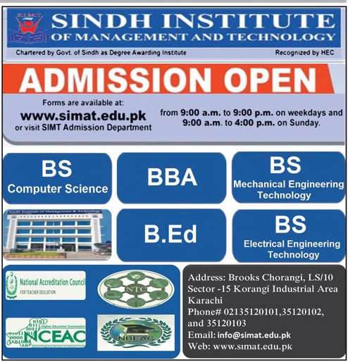 Sindh Institute Of Management & Technology Karachi Admissions