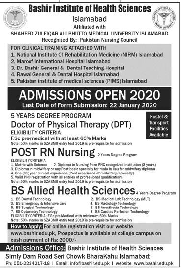 Bashir Institute Of Health Sciences Islamabad Admission