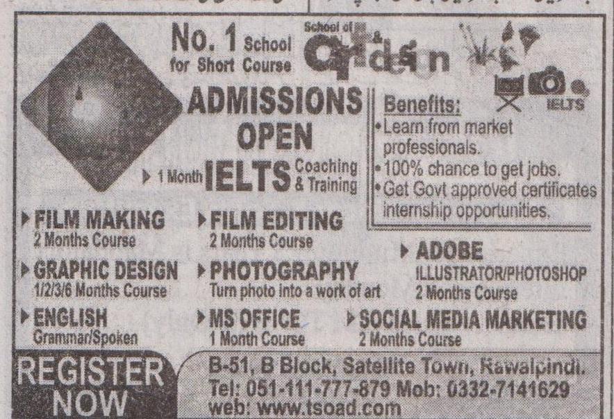 Rawalpindi Based Institute Admissions