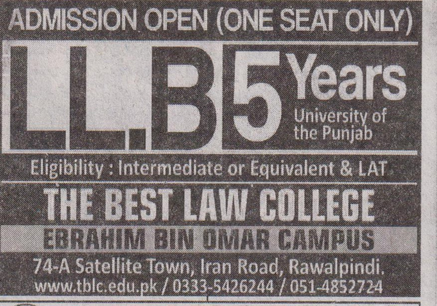 The Best Law College Islamabad Admissions
