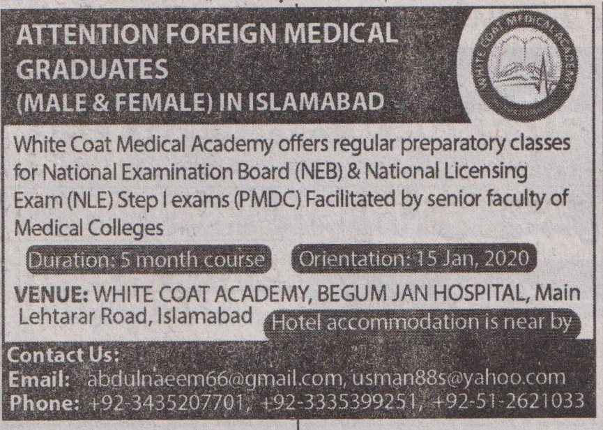 White Coat Academy Islamabad Offering Professional Courses