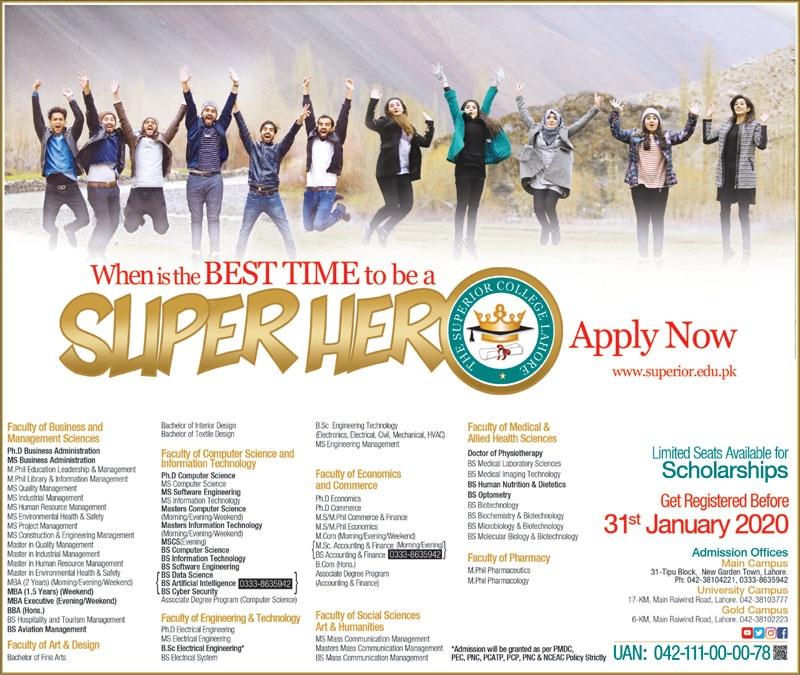 Superior College Lahore Admissions