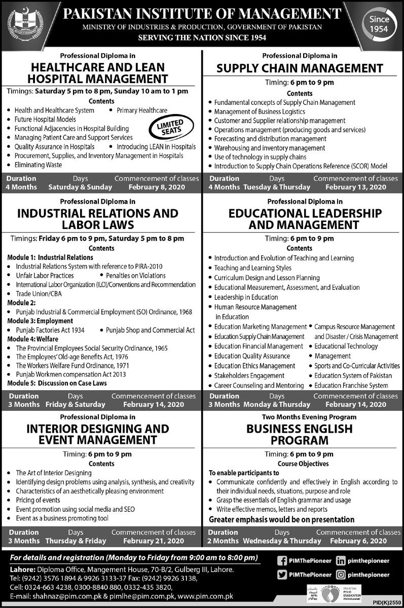 Pim Lahore Admissions