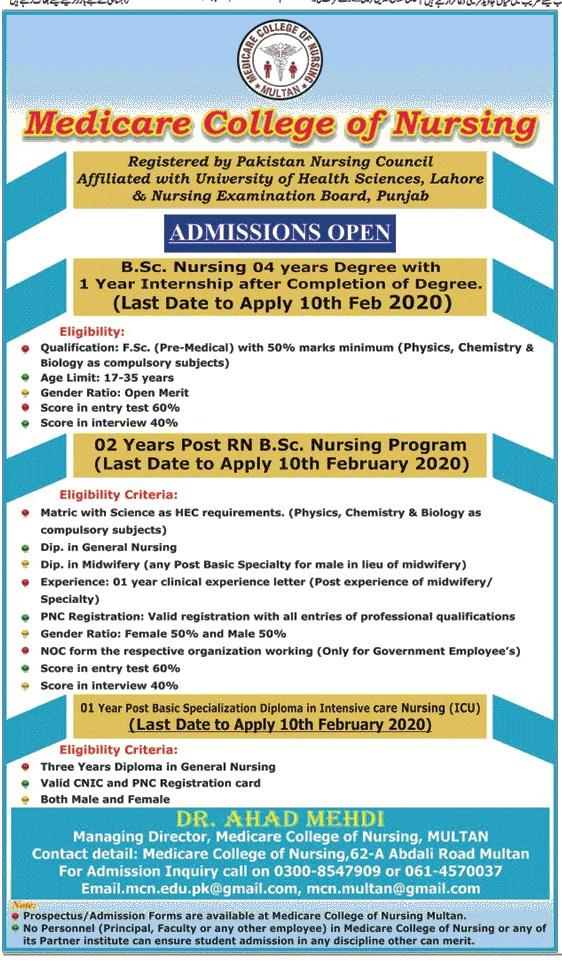 Medicare College Of Nursing Lahore Admissions