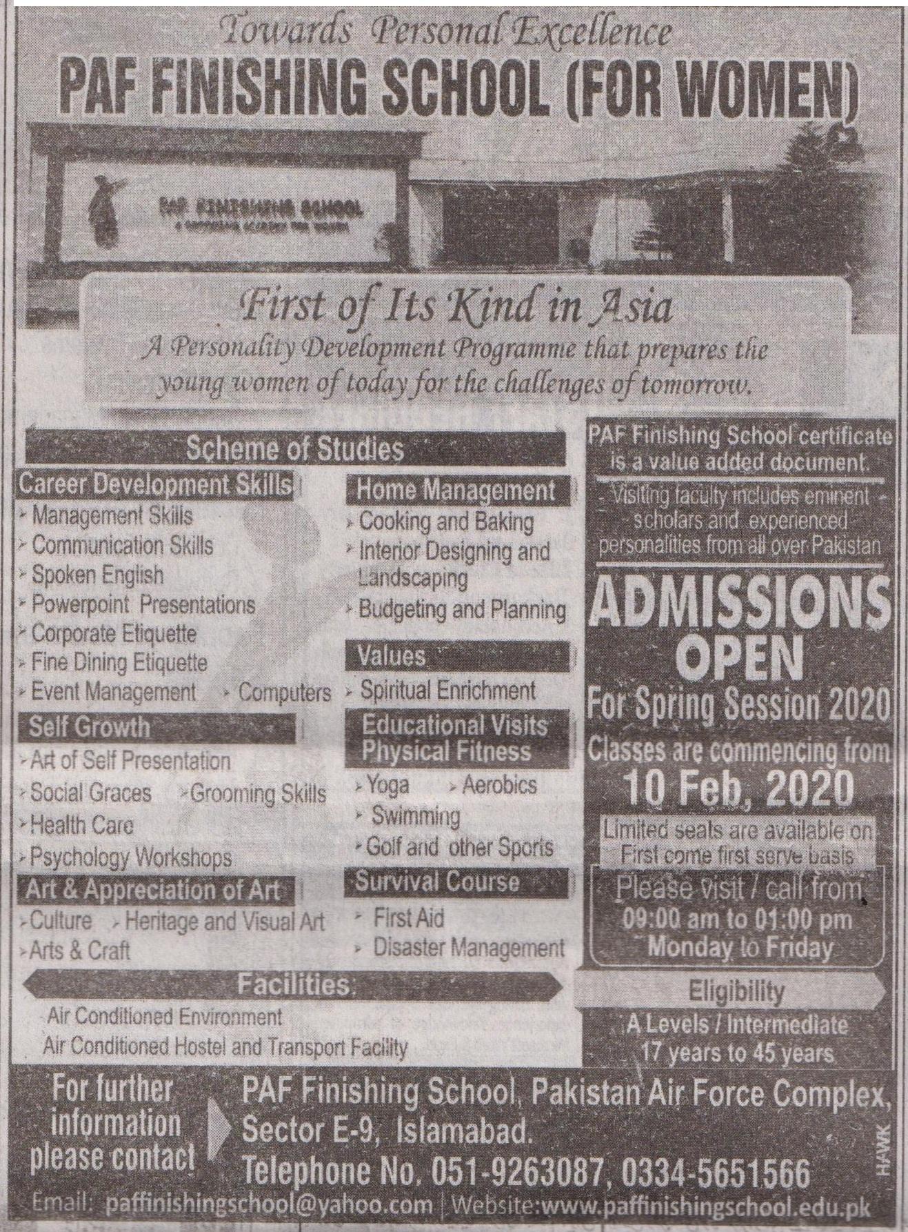 Paf Finishing School Islamabad Admissions