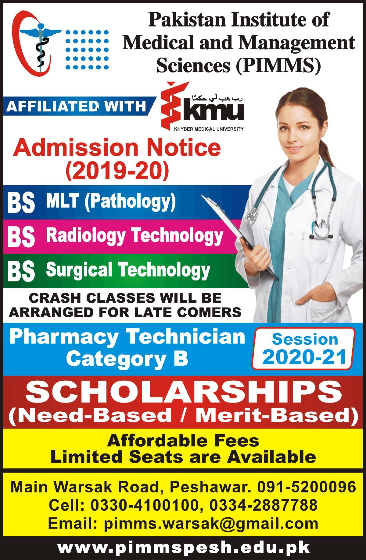 Pakistan Insittute Of Management Sciences Peshawar Admissions