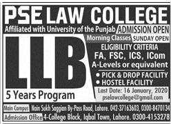 Pse Law College Lahore Admissions