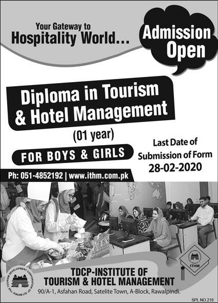 Tdcp Institute Of Tourism & Hotel Management Rawalpindi Admissions