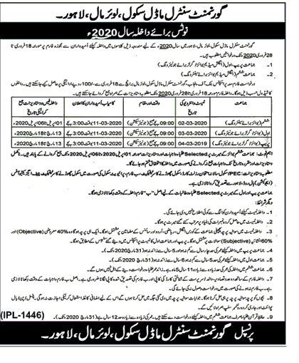Government Central Model School Lahore Admissions