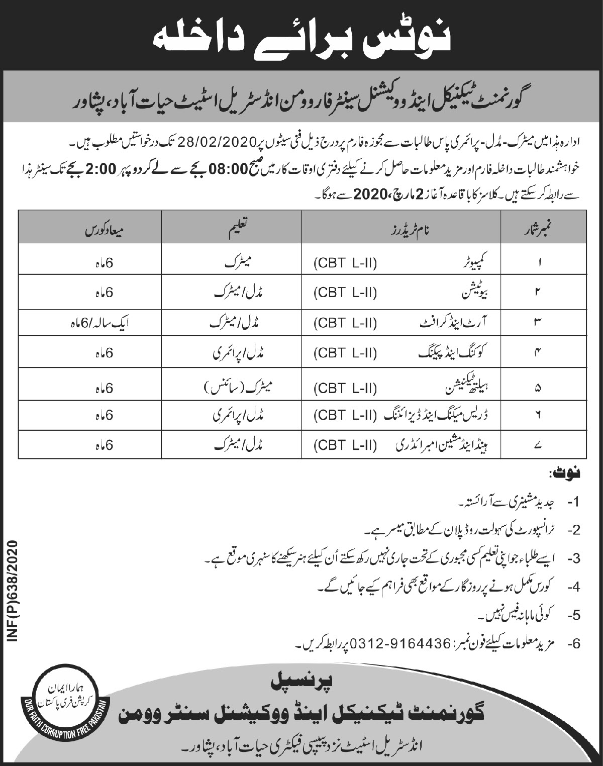 Government Technical & Vocational Centre Women Peshawar Admissions