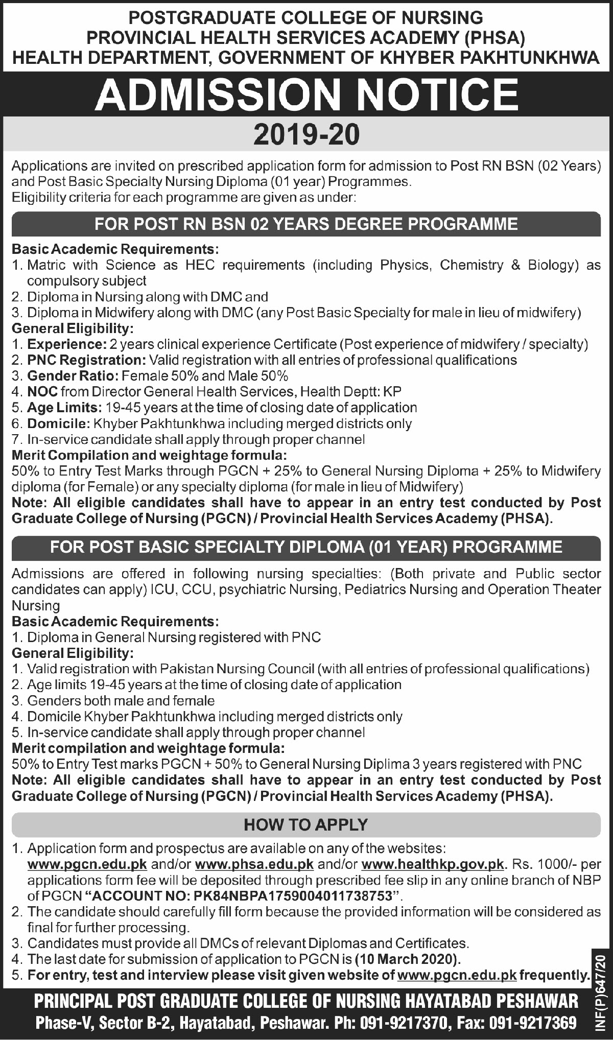 Post Graduate College Of Nursing Peshawar Admissions