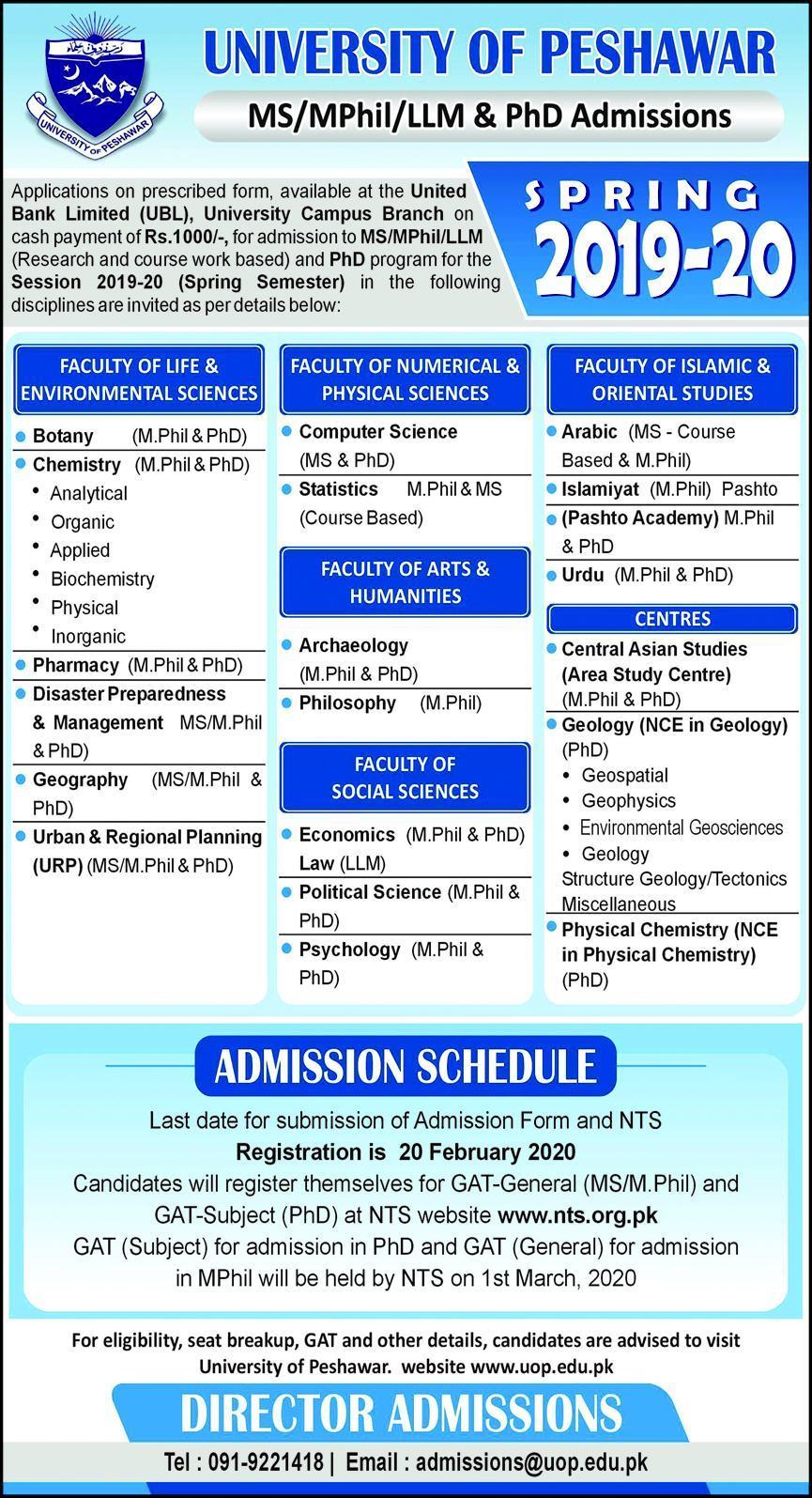 University Of Peshawar Admissions