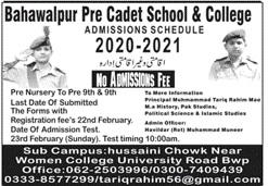 Bahawalpur Pre Cadet School & College Bahawalpur Admissions