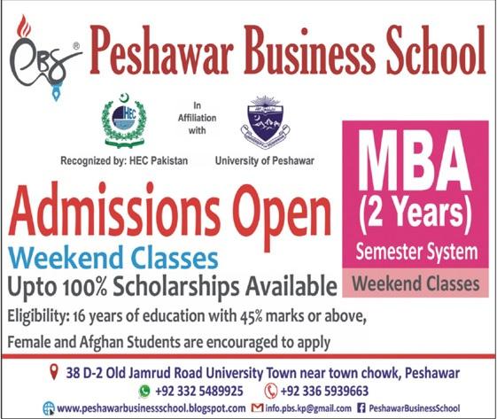 Peshawar Business School Peshawar Admissions