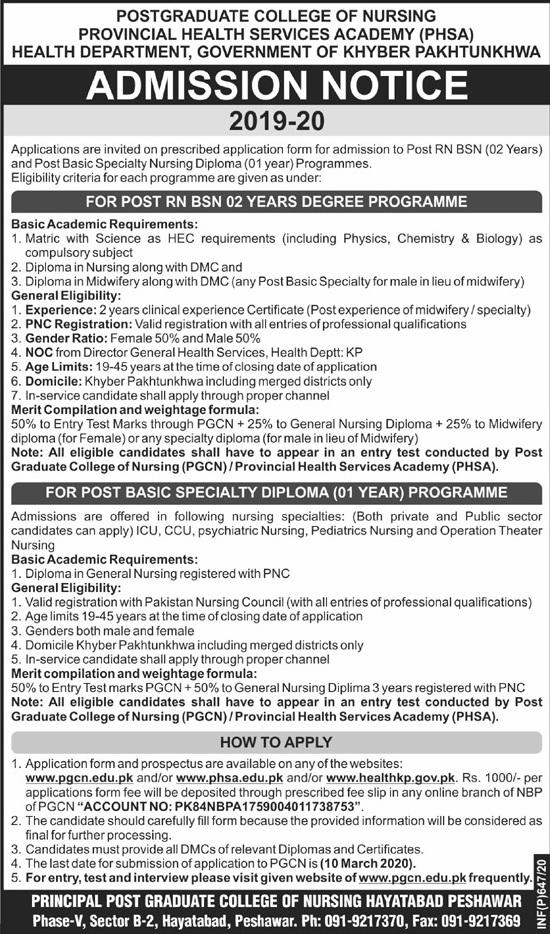 Post Graduate College Of Nursing Peshawar Admissions