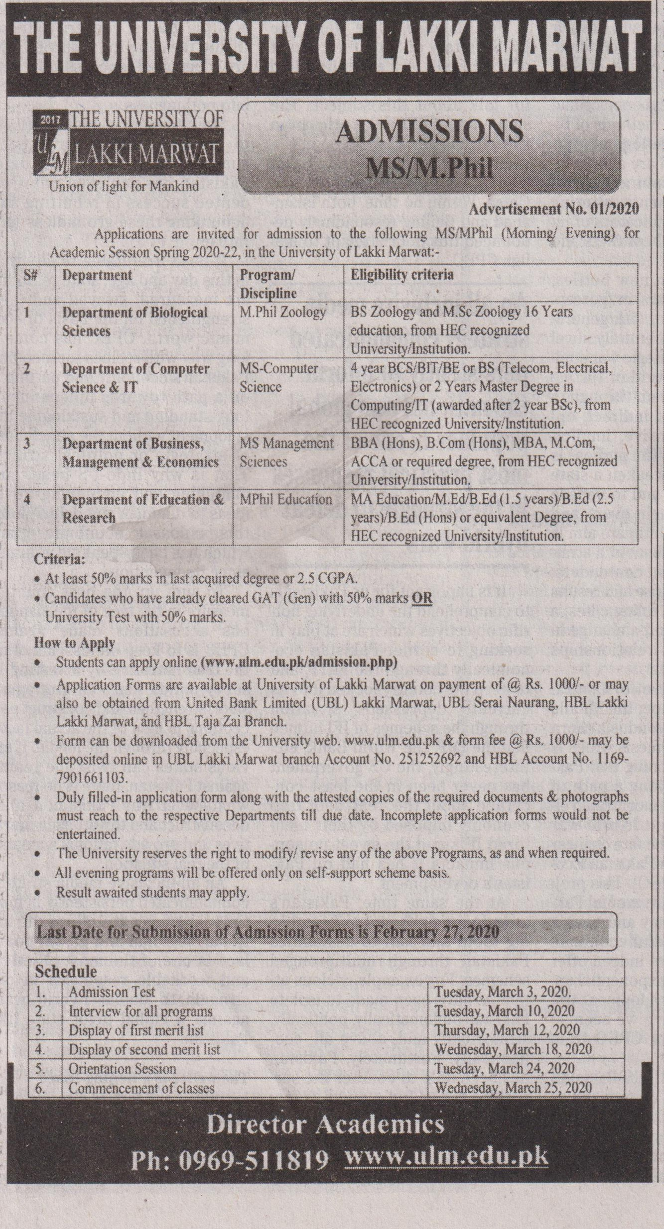 The University Of Lakki Marwat Admissions