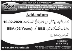 Sardar Bahadur Khan Womens University Quetta Admission