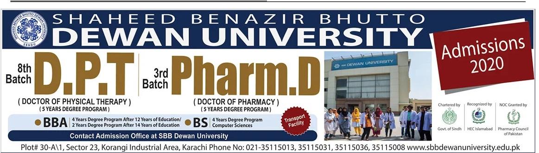 Shaheed Benazir Bhutto Dewan University Admissions