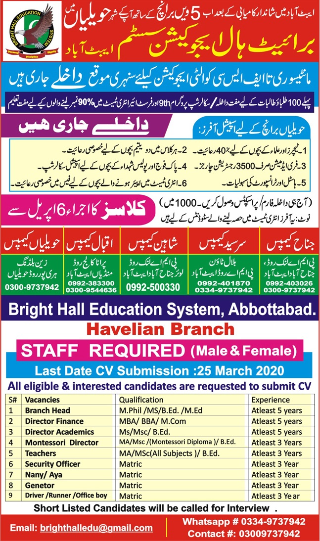 Bright Hall School Education System Abbottabad Admissions