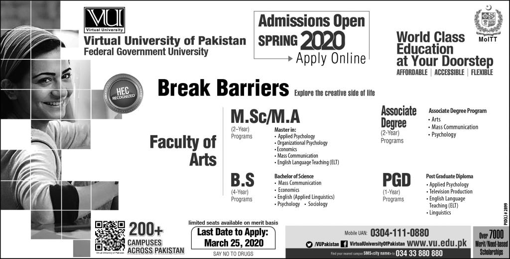 Virtual Unievsrity Of Pakistan Lahore Admissions