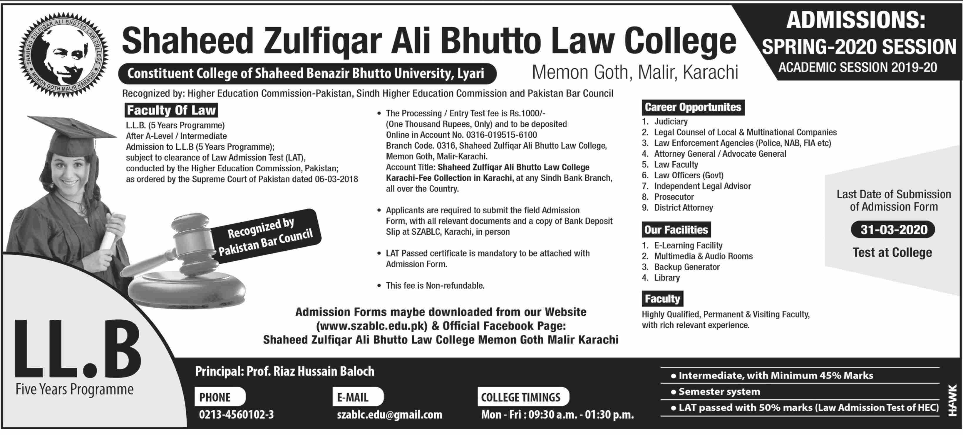 Shaheed Zulfiqar Ali Bhutto Law College Karachi Admissions