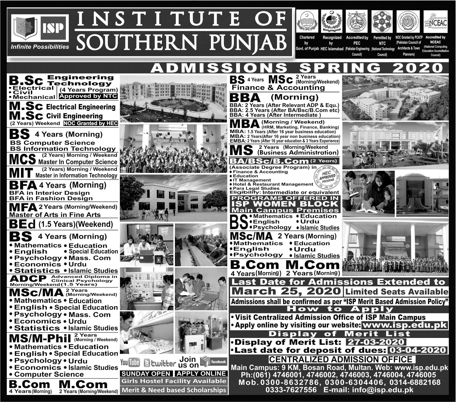 Institute Of Southern Punjab Multan Admissions