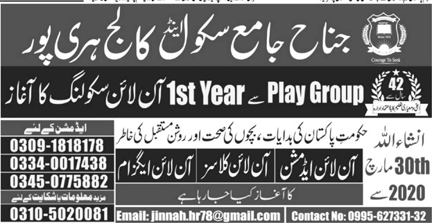 Jinnah Jame School & College Haripur Admissions