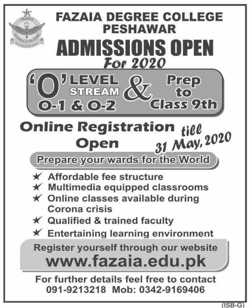 Fazaia Degree College Peshawar Admissions