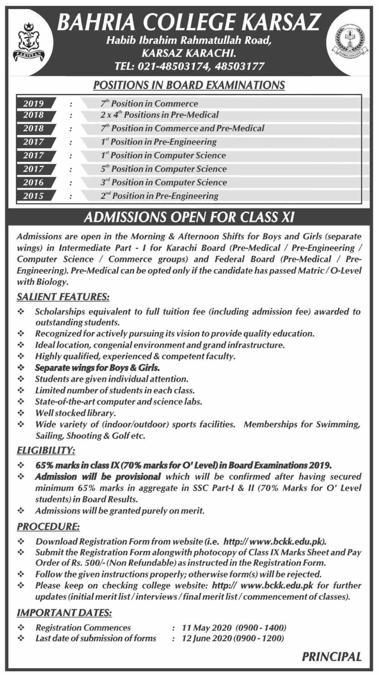 Bahria College Karachi Admissions