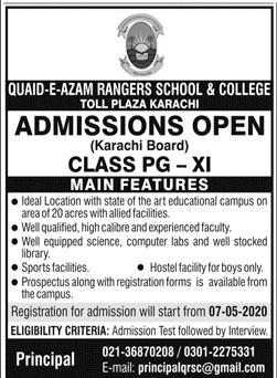 Quaid E Azam Rangers School & College Karachi Admissions