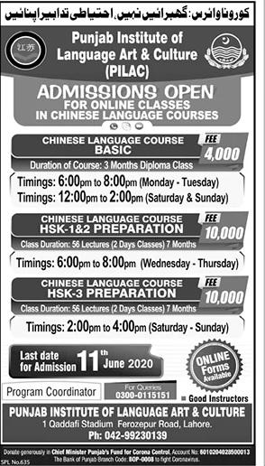 Punjab Institute Of Language Art & Culture Lahore Admissions